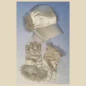 Gap Hat w/ Faux Fur Ear Flaps & Gloves Set